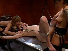 This is a total lesbian domination! Two lusty and hungry bitches lure Lilla Katt and make her sigh and moan from pain they give her.