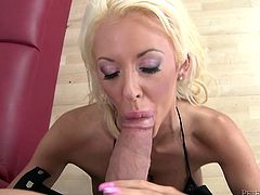 Sexy busty blonde Courtney Taylor wearing fishnet stockings pleases some guy with a great deepthroat blowjob. Then the dude drills Courtney's cunt and ass and they both enjoy it much.