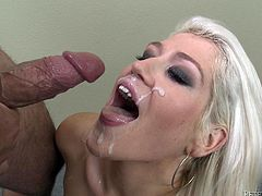 What a charming and sizzling blond siren Nikki Phoenix is! She is going to grab that huge cock and she won't let it go till she gets some cum!