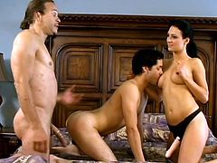 Kandi Hart is getting naughty with bisexuals Brad Slater and Jordan Monroe. The men fuck each other's assholes doggy style and also lick and drill Kandi's sweet pussy.