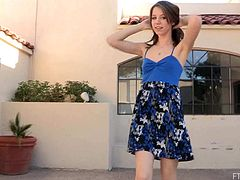 Take a look at this hot scene where this gorgeous teen brunette pulls her dress up and spreads her legs to play with her pink pussy while she wears high heels.