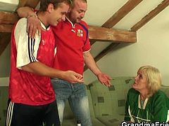 This filthy granny watches football with two guys. She pretends that she likes it, hoping they'll get drunk enough to fuck her hungry pussy and mouth after the game.