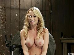 Awesome blonde chick Madison Scott lets some guy tie her up in a basement. The dude pulls Madison by the nipples and then rubs her delicious pussy with a toy.