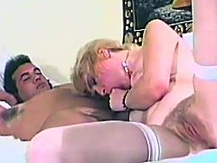 This naughty and horny blonde sucking her lover hard dick while he toying her devastated hairy cunt. They pleasuring each other so roughly.