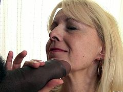 First time interracial sex for a mature lady! Koko BLond is her name and she is pleasing Franco Roccoforte with an old school blowjob!