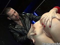 Watch this sexy and busty babe taking that large cock in her tight but oily butthole all the way down in Harmony Vision sex clips.