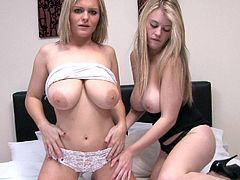 Cute dolls with big tits and naughty desires are having a great lesbian show together