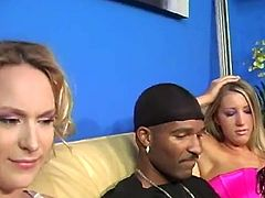 They pregnant sister invites her sister to fuck with her black husband. That dude nailed her tight wet pussy with his huge dick.