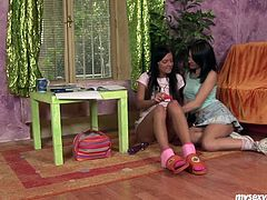 Sensuous brunette teen lesbians Monika and Rosa toying petite pussies. Watch them spreading legs and using their favorite toys for some amazing orgasms together.