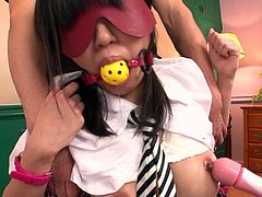 Two blow minded crazy dudes played cruel games with tasty looking Asian hootchie. They put mask on her face, roped her and applied fuck stick to poke her kitty pussy and fingered her cunt harshly and painfully. Take a look at this dirty 3some hammering in Jav HD porn video!