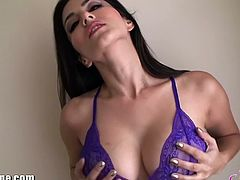 Sunny Leone poses in beautiful purple lingerie in this exciting free porn video. See her taking everything off and showing what she's got before things get REALLY interesting.