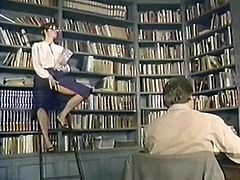This sexy librarian knows how to get a man's attention. She teases her pussy in front of this stranger because she knows that kind of thing drives men crazy. Then she spreads her sexy legs wide indicating how bad she wants him to lick her snatch. Horny dude licks it without hesitation and with pleasure.