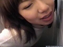 Watch this sexy amateur Japanese babe Himiko with her horny lover in toilet where he fucks her deeply and slowly in toilet and she moans hard.Enjoy her getting fucked from behind.