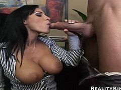 Have fun watching this brunette cougar, with a shaved pussy and fake boobs, while she sucks and licks this man's pole! Veronica definitely loves big sticks!