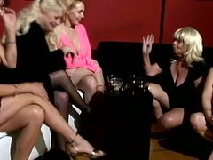 This horny mature women have weird fetish. They called bald older dude to lick their feet and made them wet and satisfied.
