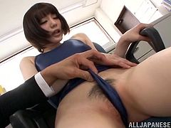 Check out this hot scene where Airi Suzumura is masturbated by her coworkers as she jerks and sucks on their hard cocks.