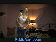 Amazingly hot blonde chick poses in lace lingerie and then gives nice blowjob. After that she gets fucked doggystyle and gets jizzed on her ass.