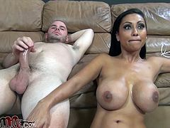 This stunning babe with delicious big round tits gives that dude amazing blowjob and titjob until he sprays warm cun on her hot ass.