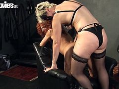 Take a look at this passionate lesbian scene where these two kinky ladies give you one hell of a boner as you watch them fucking with a strapon.