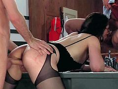 Smoking hot black haired whore Sarah Shevon with awesome body and kinky glasses in arousing lingerie gives fucks with James Deen and Jeremy Conway until they spray her with cum.