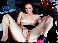 Slutty chick gets naked and inserts a hard toy in her hole in this amazing and intense solo scene right here. Hit play and check it out!
