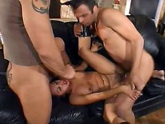 Asian bombshell Jasmine Byrne is having fun with two studs indoors. She sucks their boners remarcably well and then allows the men to drill her pussy and asshole at the same time.