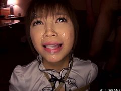 Lovely Japanese girl gets tied up and toyed by several dudes. After that she sucks dicks and gets facialed massively.