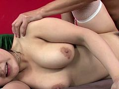 Full bosomed dark haired rapacious Japanese sex pot got all her thirsting holes powerfully pounded by massive cream stick, anal fuck was the hardest one. Take a look at this amazing multiple fuck in Jav HD porn clip!