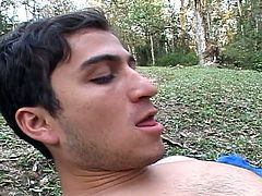 Two young and horny sexy gay latinos get nasty in the forest and start sucking cock before stuffing tight ass with toys to stretch it ready for a real dick and hot bareback action