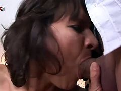 Check out this mature's amazing body in this hardcore scene where she's fucked silly by this guy while having her pussy pumped.