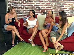 Melanie is having fun with her pretty GFs indoors. The hotties show their bodies to each other and then drive each other crazy with cunnilingus.