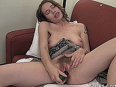 Sweet amateur girl with tattoos Bridgette masturbating pussy with a large black toy