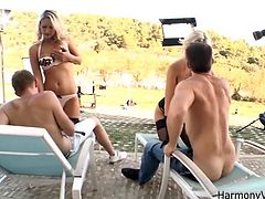 Get a load of this hardcore group sex scene where the sexy blonde Sasha Rose and Samantha Jolie have fun sucking and fucking three large cocks.
