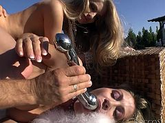 Rocco Siffredi is getting naughty with slim blonde hotties Cayenne Klein and Vittoria Risi. He makes them suck his wang and then smashes their pussies and assholes.