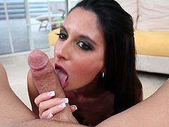 Model Nikki Daniels giving blowjob and titjob
