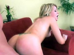 Nasty blonde Sindee Jennings shows her cock-sucking skills to some guy. Then she takes his shaft into her smooth vag and gets it drilled in missionary and other positions.