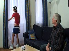 Watch this pervert old man seducing her teen maid in his home.He gets a nice massage from her then this pervert massages her and then touches her small tits and shaved pussy.See how he drills that tight pussy till he cums deep inside her.Lucky old dude!