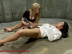 Check out these super horny bitches having a wild lesbian threesome. They use vibrators and a strapon to give and receive pussy pleasure!