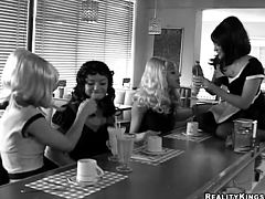 Sexy chick Ryan and her GFs wearing vintage wigs, corsets and stockings are playing lesbian games in a bar. They lick and finger one another's vas on the bar counter and seem to be unable to stop.