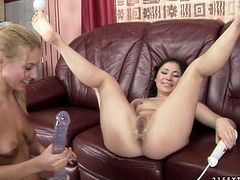 Leg spread broad assed salacious Asian girlie rests on sofa. Her blond head saver satisfies her hungry vag by poking it with massive dildo and then applies her gentle arm deep inside that warm kitty. Enjoy this lesbo fuck with dildo in 21 Sextury porn clip!