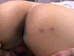 At first palatabe japanese chick teases you with her welcoming ass hole and promising pussy cave. Later she sucks dick and gets her hairy pussy finger fucked.