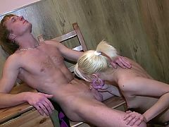 Hot luscious babe gets her small tits licked before she gets on top of the table to be fucked hard and fast . She is fucked in different positions in this non stop hot European sex movie.
