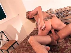 Blonde babe drops to her knees and gives an amazing blowjob to her boyfriend. After that she gets fucked nice and deep in her vagina.
