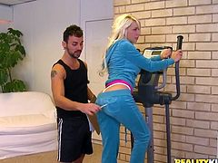 Salacious blonde Stevie Shae is playing dirty games with some guy in a gym. She shows her cock-sucking talent to the man and then they bang doggy style and in cowgirl position.