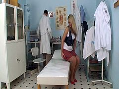 Luscious blonde slut in sexy skirt open legs for doc's fingers to make it wet as she then gives him hot blowjob. His cock is ready to destroy this teenage pussy.