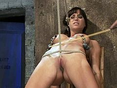 Sexy brunette girl gets undressed and tied up by a couple. Later on she gets her tits clothespinned and whipped by Isis. Then she also gets toyed by a guy.