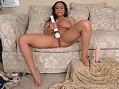 Exotic beauty Jade Aspen rides a thick dildo while her huge natural tits bounce then switches to a high powered magic wand vibrator to finish herself off