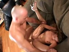 A hot-ass fuckin' slut sucks on a hard cock and then gets it shoved balls deep into her cunt, check it out right here! It's fuckin' awesome!
