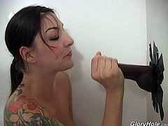 She is one big nympho who needs huge black cock. That naughty hoe is sucking large black cock gloryhole and eat big load of cum.