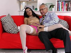 Lou Charmelle opens her legs for senior guy to slide his fat cock inside
